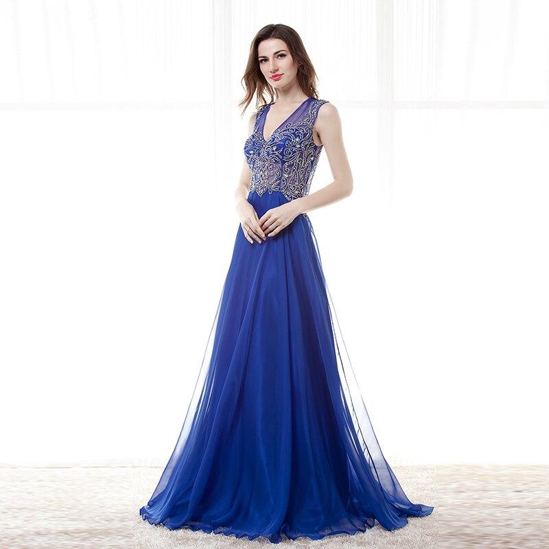 5097c2431 Royal Blue Evening Dresses Long 2019 Vestido Azul V Neck Open Back Sheer  Illusion Avondjurken Gala Jurken Formal Prom Dress