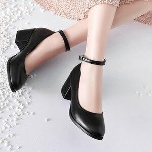 Image 3 - ขนาดใหญ่ขนาด 11 12 13 14 สุภาพสตรีรองเท้าส้นสูงรองเท้าผู้หญิงรองเท้าผู้หญิงปั๊มรอบหัว,ปากตื้น, กลางส้นหนา one word buckle