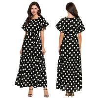Muslim Women Abaya Polka Dot Short Sleeve Long Maxi Dress Kaftan Cocktail Robes Summer Dress Sash Elegant Islamic Clothing Gown