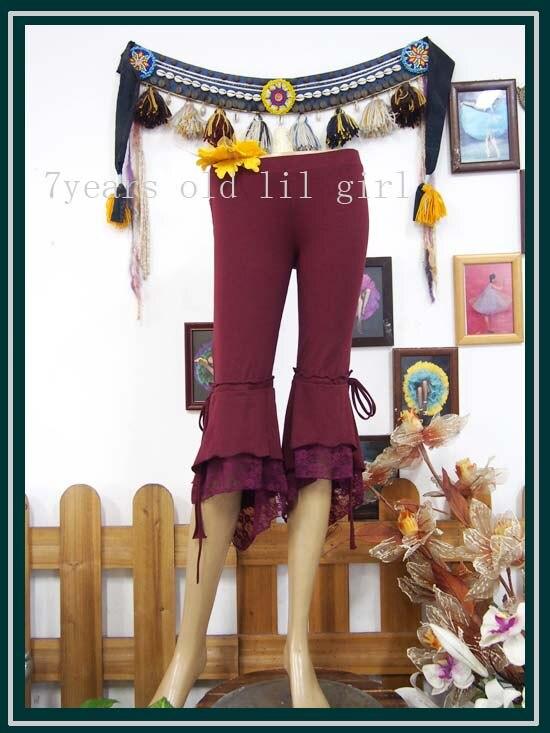 ①  Брюки из лайкры и хлопка с узкими брюками и воланами в готическом стиле с обручем для танца живота С ✔