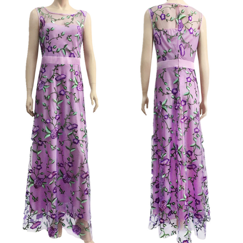 0eb0d58c69a7 Runway Women Floral Embroidery Flower Dress Summer Mesh Maxi Dress Designer Dresses  Long Sexy Dress Clothing Vestidos 0488-in Dresses from Women s Clothing ...