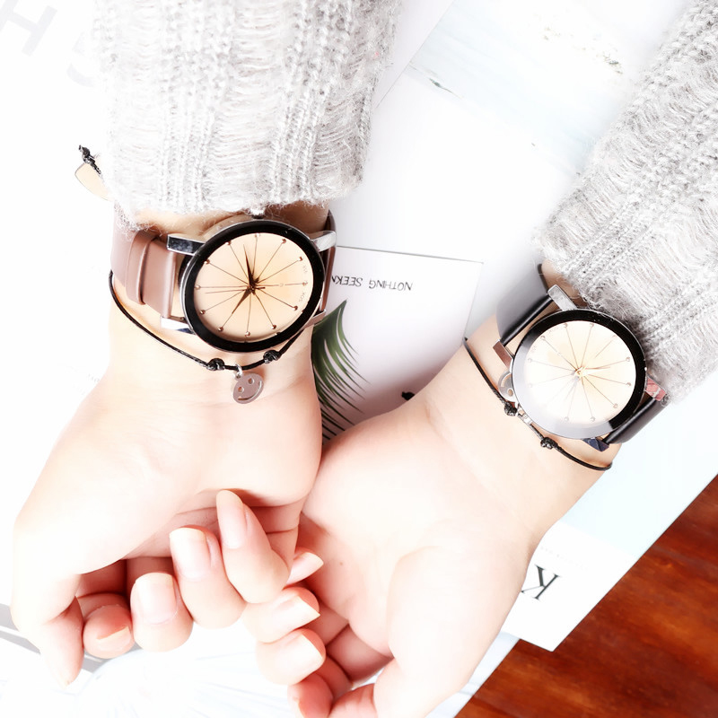 New <font><b>Couples</b></font> <font><b>Watches</b></font> Leather Quartz <font><b>Watch</b></font> <font><b>Mens</b></font> <font><b>Ladies</b></font> Fashion Wrist <font><b>Watch</b></font> Full Stainless Steel Triangle Gear <font><b>Watch</b></font> Gift image