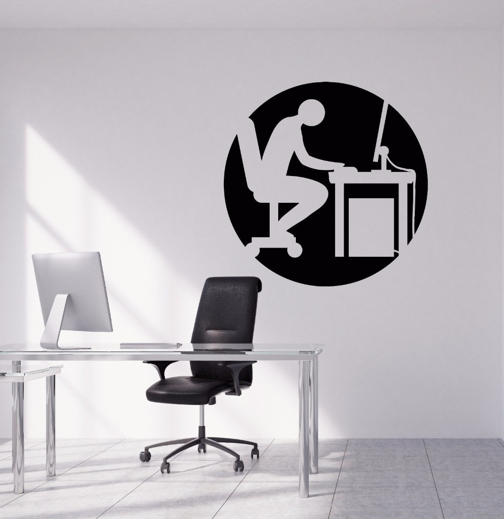 Office Wall Stickers Removable People Working Hard Silhouette Decal Art Mural Design Vinyl AY575