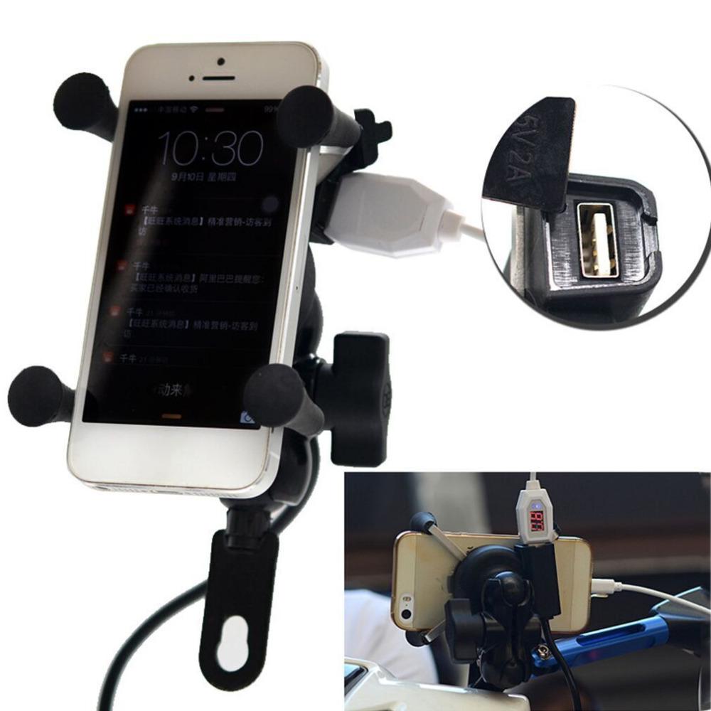 Prix pour Universal 12 V Moto Téléphone portable et GPS Mount Holder X Grip Pince avec USB Chargeur 5 V/2A Pour Vélo Électrique Scooter ATV
