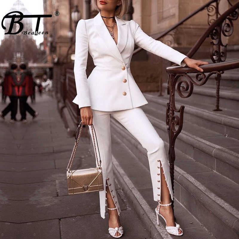 Beateen Women's White Buttons Formal Elegant Blazer Pantsuits 2 Piece Suit Sets 2018 New Fashion