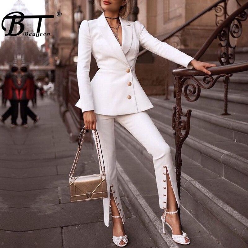 Beateen Для женщин белые кнопки Формальное Элегантный Блейзер брючные костюмы костюм из 2 предметов комплекты 2018 Новая мода