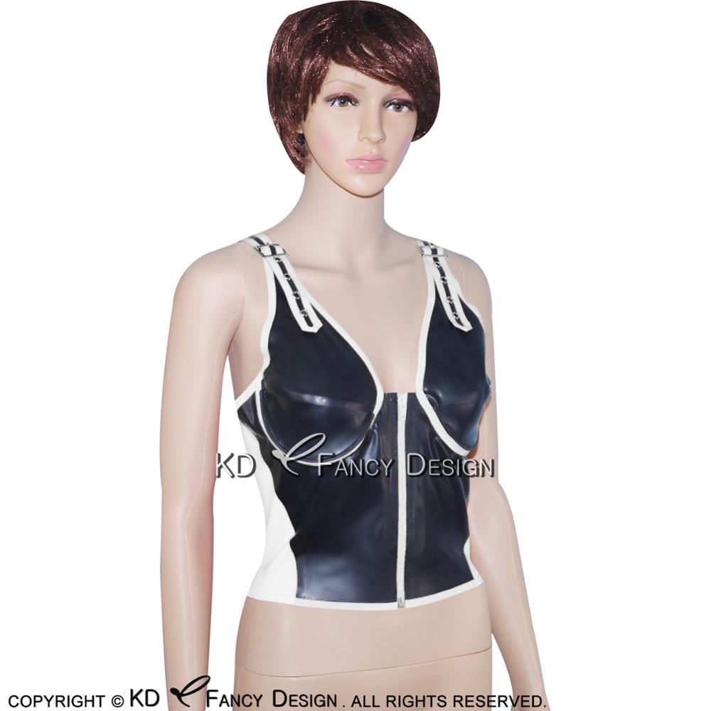 Noir avec garnitures rouges Sexy Latex chemise haute avec ceintures fermeture éclair à l'avant en caoutchouc sous-vêtements vêtements YF-0020 - 6
