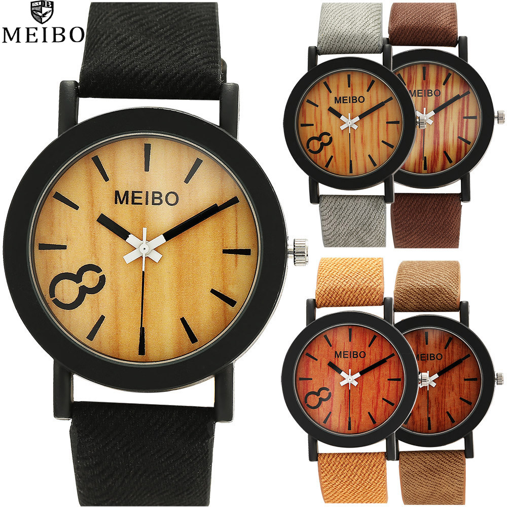 MEIBO Simulation Wooden cook Quartz Men Watches Casual Wooden Color Leather Strap Watch Wood Male Wristwatch Relogio Masculino montre meibo