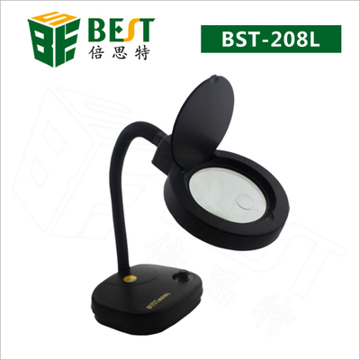 Free Shipping BEST-208L Tools Adjustable Brightness Led Electronic Magnifier Table Lamp with 36 SMD LED Lights