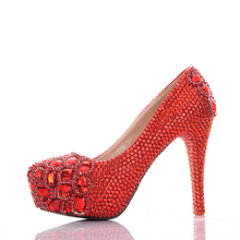 Red Rhinestones 120mm High Heels Wedding Shoes Woman Round Toe Crystal Bridal Dress Shoes Evening Party Pumps