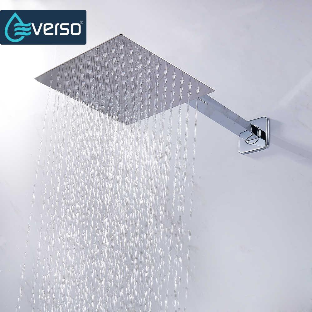 Chuveiro ultrafino em aço inoxidável, cabeça de chuveiro de 12/10/8/6/4 polegadas, chuveiro de alta precisão, cromado acabamento redondo e quadrado