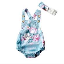 blue floral vintage Baby Clothes Newborn Romper Summer Girl Solid Jumpsuit bubble button