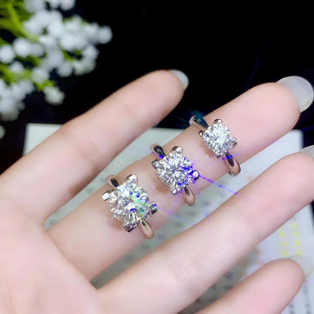 الأكثر شعبية نمط ، المويسانتي حلقة ، 1 قيراط 2 قيراط خاتم بالجملة ، 925 فضة ، جميلة اللون-في خواتم من الإكسسوارات والجواهر على  مجموعة 1
