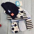5 pcs cap + 3 par luvas chapéu do bebê cap com luvas gorros infantis definir 0-6 meses