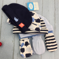 5Pcs Cap+3Pair Gloves Baby Hat Cap With Gloves Infant Beanies Set 0-6 Months