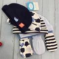 5Pcs Cap+3Pair Gloves Baby Hat Cap With Gloves Infant Beanies Set 0-6 Months