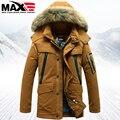 2016 de inverno dos homens para baixo casaco grande gola de pele de médio-longo forro destacável para baixo casaco de pato dos homens para baixo jaqueta amassado jaquetas