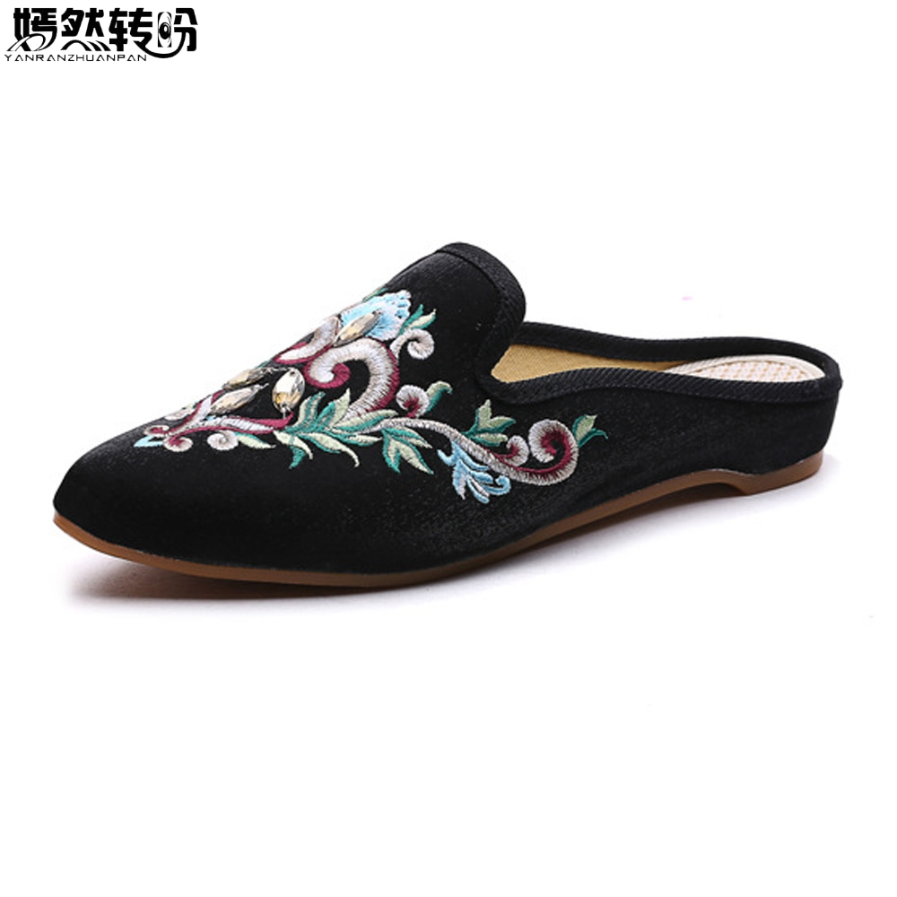 Women Slippers Embroidered Shoes Vintage Faux Suede Sandals Rhinestone Pointed Toe Soft Slip-on Cotton Shoes Woman Plus Size 43 women slippers embroidered shoes vintage faux suede sandals rhinestone pointed toe soft slip on cotton shoes woman plus size 43