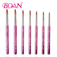BQAN 10pcs #6#8#10#12#14#16#18 Kolinsky Sable Brush Acrylic Nail Art Brush Nail Art Brush Violet Metal Crystal Acrylic Brush