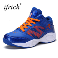 Ifrich New Arrival Boys Shoes Leather Basketball Kids Sneakers Teenager Lace Up Sneakers Children Rubber Boots
