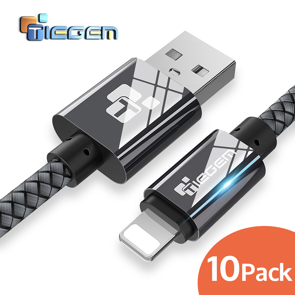 10Pack TIEGEM Nylon Braided USB Cable for iphone X 8 Plus Fast Charging Sync Data USB Cable For iphone 7 6 6s Plus 5s ipad mini