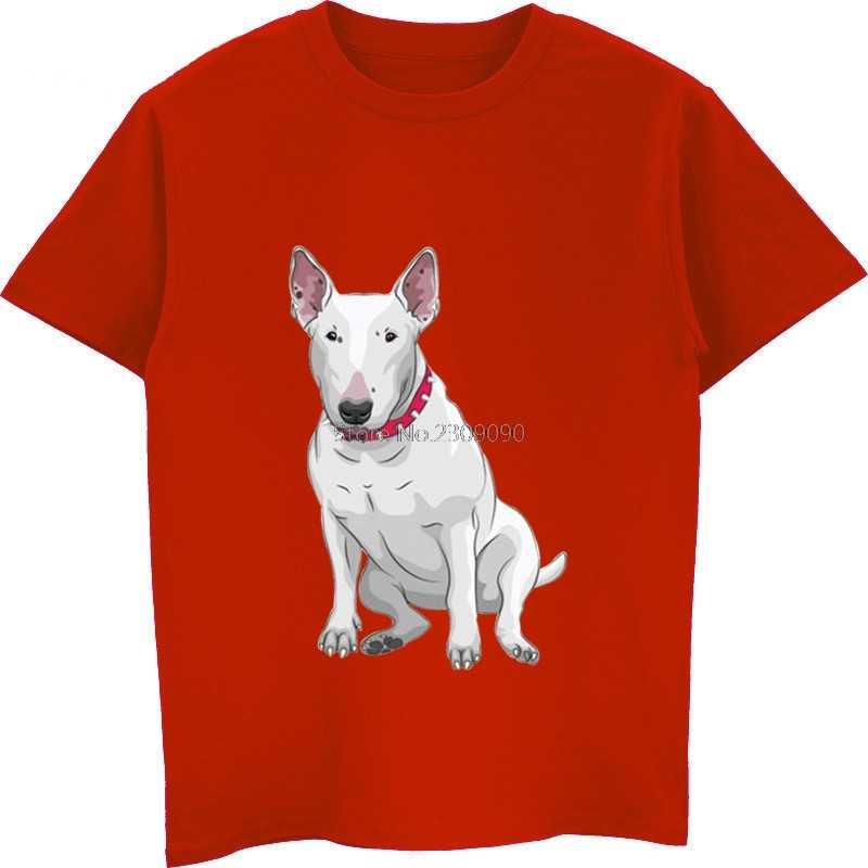 Divertente Bull Terrier Cane di Modo di Stampa T-Shirt di Estate di Vendita Calda del Cotone degli uomini di T Shirt Uomo Manica Corta O-Collo Camicette unisex Magliette