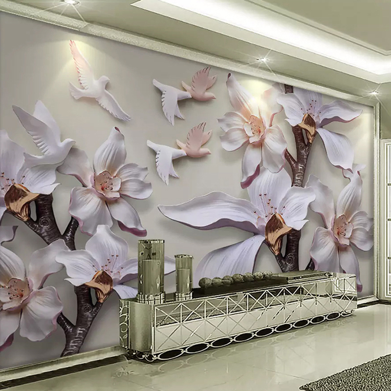 Custom Size 3D Wall Mural Wallpaper 3D Stereoscopic Relief Murals White Magnolia Flower TV Background Wallpapers For Living Room