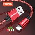 Suntaiho 2.4A Cable USB para Cable de cargador de iPhone Xs Max xr x 7 7 6 plus 6 s para Cable Lightning de carga rápida del teléfono móvil del cable del cargador
