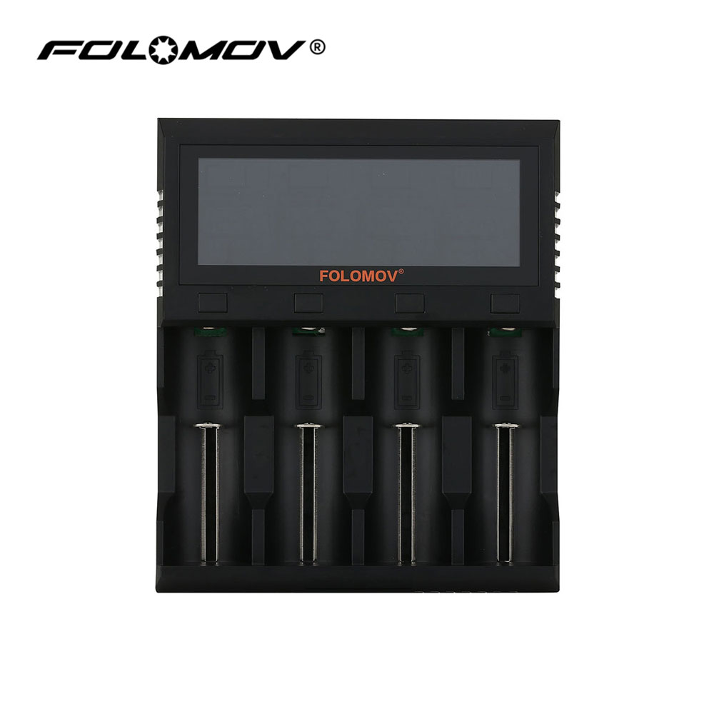 Folomov A4 Quick Charger for Li-ion Batteries Intelligent Battery Charger with LCD Screen Charging for LiFeP04 NiMH/NiCd 18650 18650 li ion battery charging stand in car charger travel charger set black
