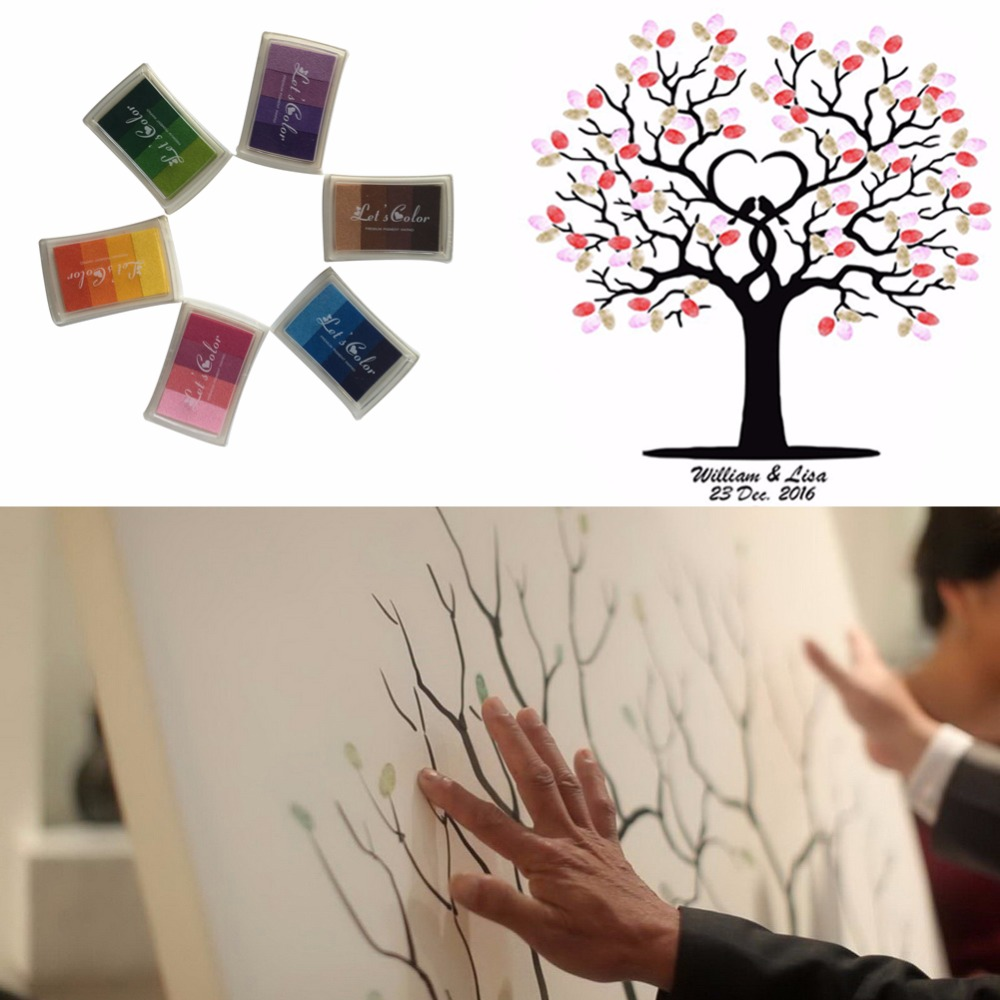 Customized Fingerprint Tree Painting Wedding Guest Book + 24 Colors Ink Pads DIY Baby Shower Birthday Decoration