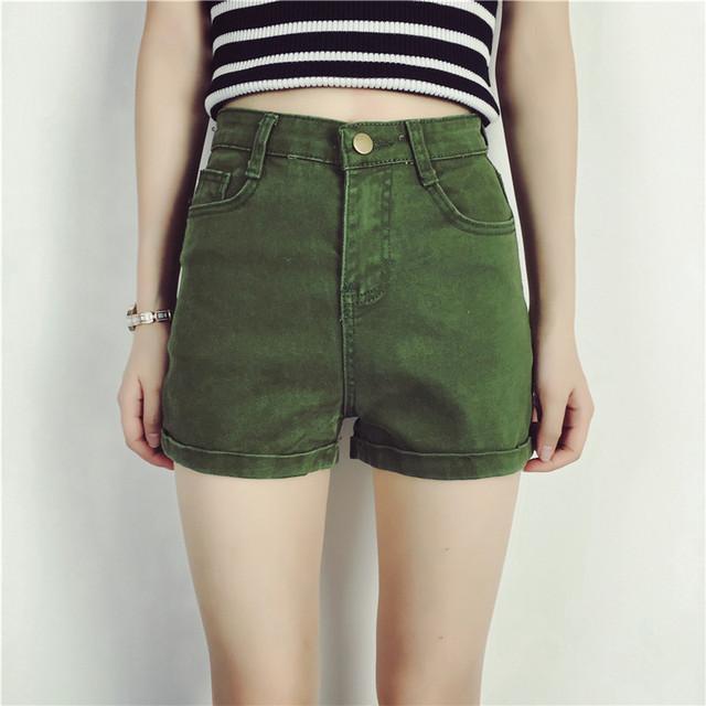 YONO Real New Fashion Mujeres Mediados de Pantalones Cortos de Mezclilla Delgada de Verano cintura Sólido Verde Del Ejército Shorts Vaqueros de Las Mujeres Ocasionales de La Vendimia de Corea estilo
