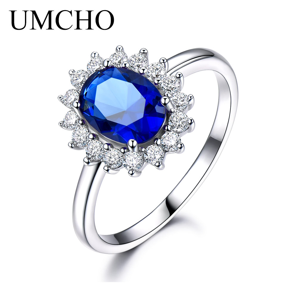 UMCHO luksuzni plavi safir 6 * 8mm princeza Diana prstenovi prave 925 - Fine nakit - Foto 3