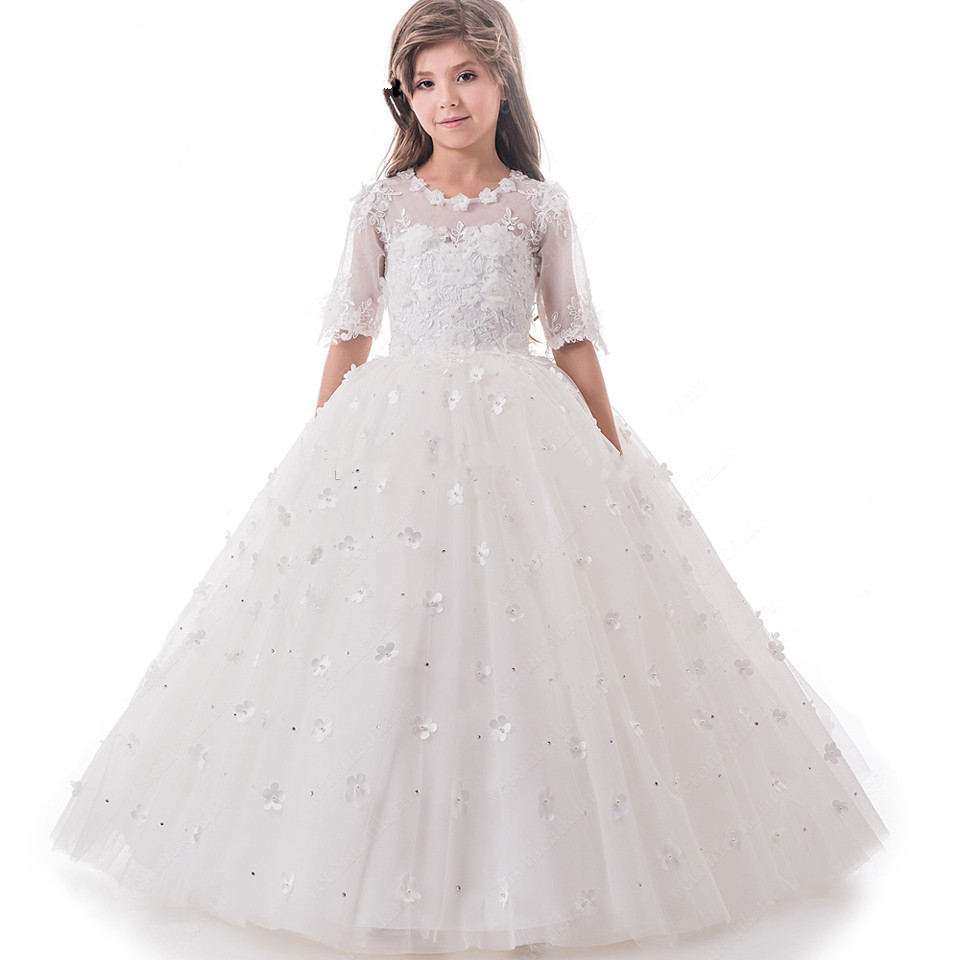 2017 Pretty Princess High Quality Custom Flower Girl Dress White Tulle Appliques Kids First Communion Dress Pageant Gowns