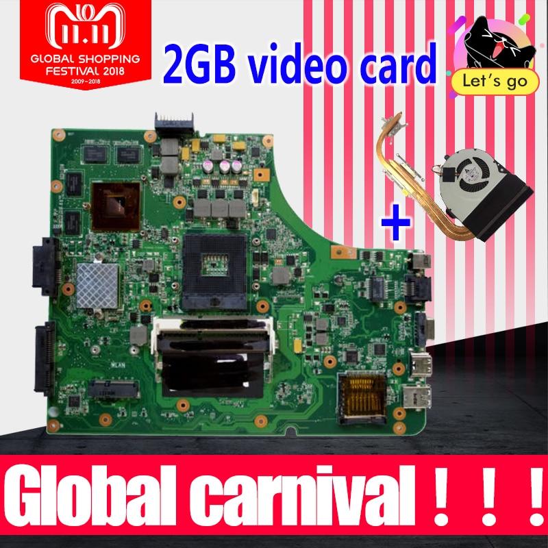 цена на Upgrade send fan K53SV motherboard GT610M 2GB K53SV For ASUS A53S K53S X53S P53S K53SJ K53SM K53SV laptop Mainboard test 100% ok
