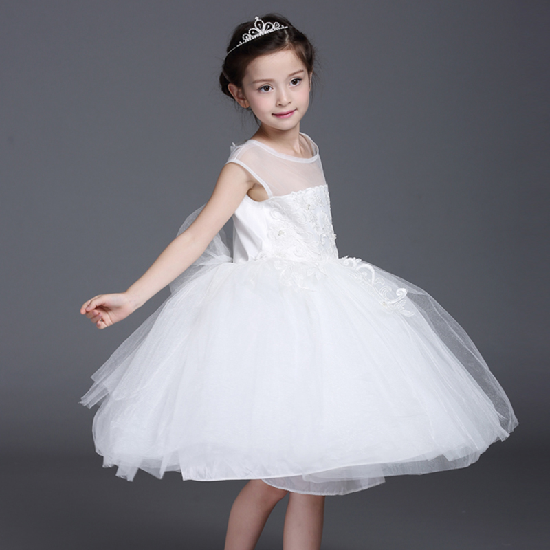 Girls Pageant Dress For Wedding Party Perform New Tutu Princess Dress Sleeveless Ball Gown Appliques Flower Girl Dresses цены онлайн