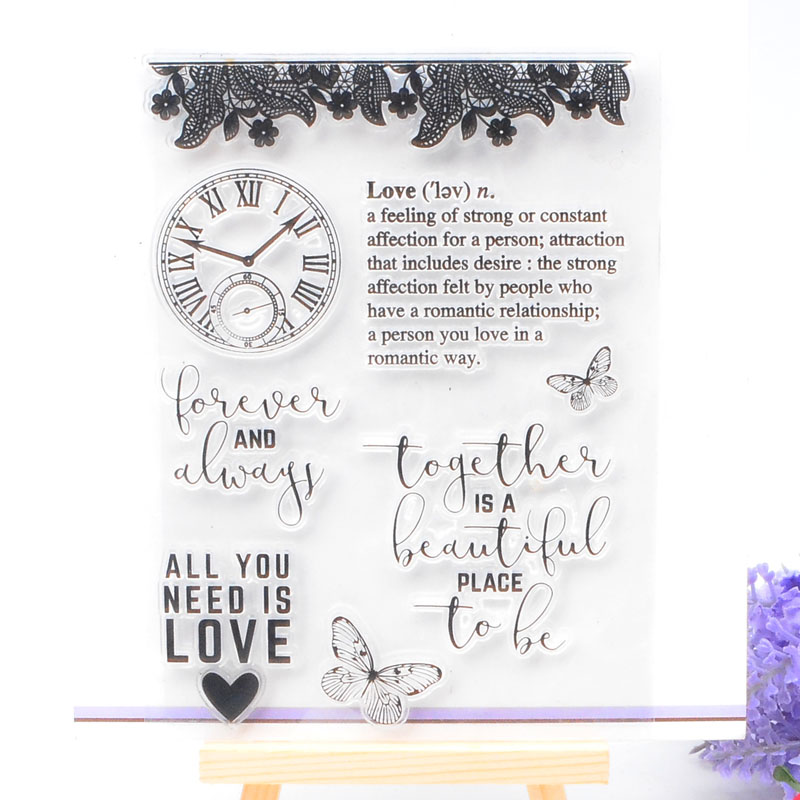 Clear Stamp Scrapbook DIY photo card seal stamp Butterfly and Love transparent silicone transparent stamp
