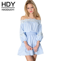 HDY Haoduoyi Blue Women Mini Dresses Long Sleeve Slash Neck Lace Contrast A Line Dress Women