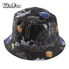 Winfox Azul Céu Estrelado Carta de Impressão Dupla Face Chapéu de Pescador  Mulheres Homens Hip Hop Pala de Sol Pesca Bucket Chap. 67048454d13