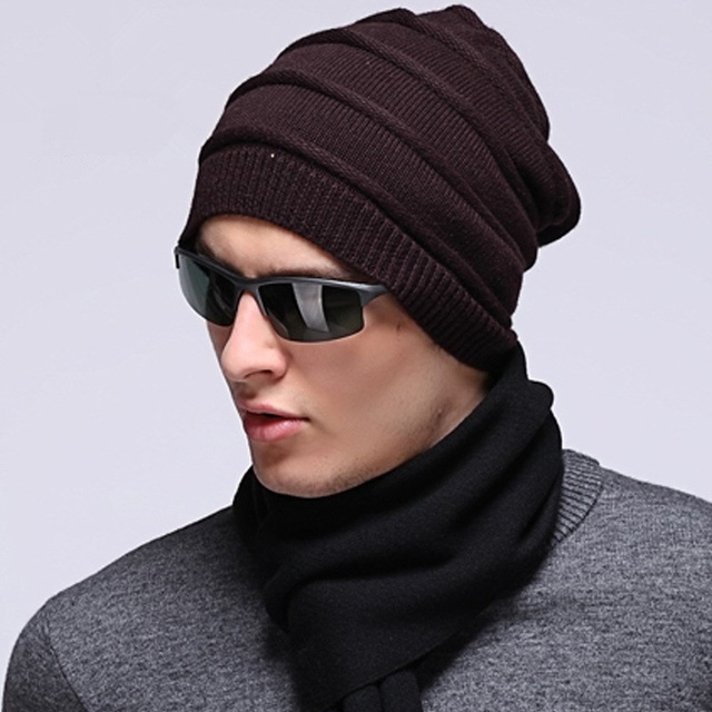 Men Warm Monochrome Boina Wool Knitted Cap Winter Soft Beanie Hats 2017 Headdress Fashion Luxury Brand Korean Style Hat S6