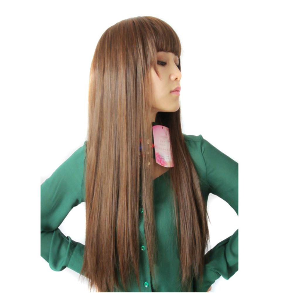 Long Straight wigs front lace Neat bang Hair wigs for women Similar to full lace wigs human hair with baby hair straight 6523A classic femal long black wigs with neat bangs synthetic hair wigs for black women african american straight full wigs false hair