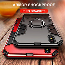 Luxury Armor Shockproof Phone Case For iPhone X 7 6 6S 8 Plus PC+TPU Protective Cover For iPhone XS Max XR Case With Holder Ring цены