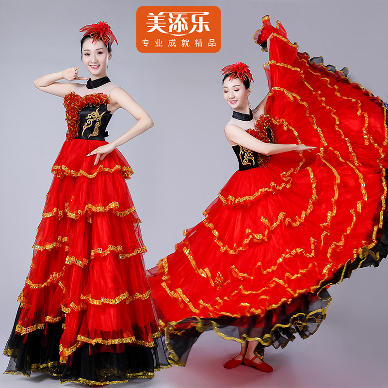 Spanish Flamenco Bullfighting Costume Adult Female Opening Dance Full-skirt Dress Spanish Stage Performance Dancing Suit H528
