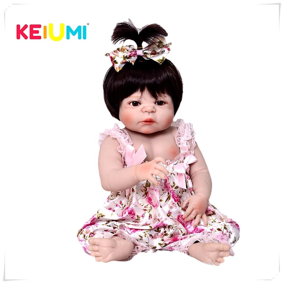 Новое поступление 57 см полный силиконовые детские куклы 100% ручной работы натуралистичные куклы в виде новорожденных младенцев девушка сре...