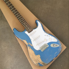 Custom metal blue paulownia wood body ST electric guitar Chinese factory quality musical instruments