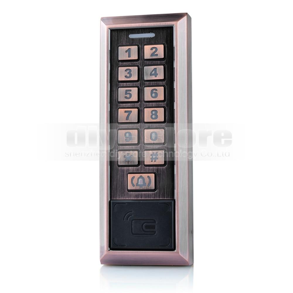 DIYSECUR Metal 125KHz RFID Card Reader Password Keypad Access Controller + Door Bell Button diysecur metal case touch button 125khz rfid card reader door access controller system password keypad c20