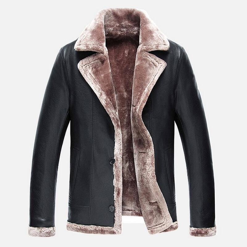 2016 New Winter Leather Jacket Men Suit Collar Thickening Warm Fur Clothing Mens High-end Business Leather Jackets Coats