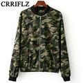 2016 New European Style New Autumn Collar Patch Camouflage Jacket Flight Jacket Coat Women IF595