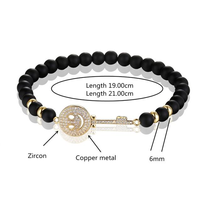 Фото janeyacy брендовый модный браслет из бисера черный смайлик мужской цена