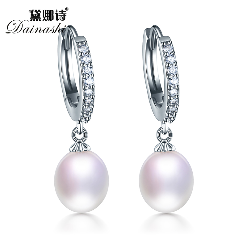 Top Quality Real Natural Freshwater 3 Color Water Drop Hoop Pearl Earrings For Women pair of sweet rhinestone faux pearl water drop earrings for women