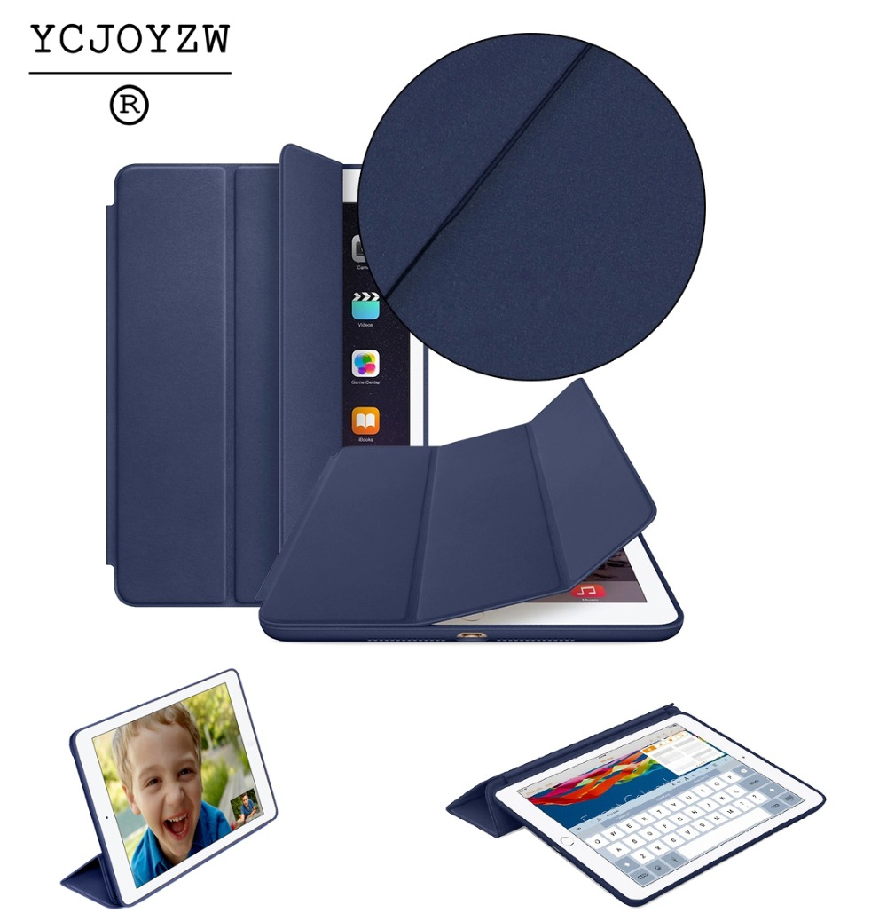 Original Smart Case For ipad Air 1 (2013) :A1474`A1475`A1476,YCJOYZW PU Leather Cover Auto Sleep protective shell for apple ipad for apple ipad air 1 full wrap leather case folio folding cover case with passport case card slot 9 7 inches a1474 a1475 ynmiwei